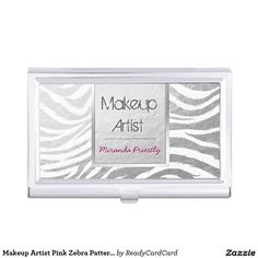 Makeup Artist Pink Zebra Pattern Silver Stripe Business Card Holder