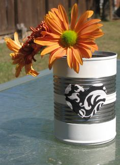 Black and ivory fabric heart tin can.  Upcycled ivory striped can to be used as vase, pen holder, utensil holder, etc. on Etsy, $5.00
