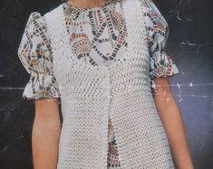 Womens vintage crochet pattern sleeveless vest jacket | Etsy Vintage Knitting, Vintage Crochet, Print Patterns, Crochet Patterns, Sleeveless Jacket, Retro Outfits, Vintage Jacket, Little Girl Dresses, Double Crochet