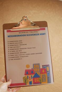Neighborhood Walk and Scavenger Hunt – Bambini Travel Red Mailbox, The Neighbourhood, Scavenger Hunts, Lettering, Free Printable, How To Make, Travel, Viajes, Free Printables