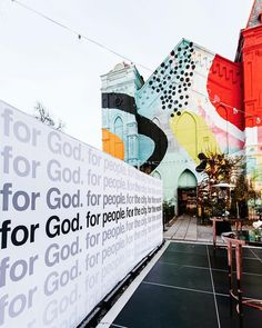 For God. For people. For the city. Church Lobby, My Church, Church Ideas, Church Welcome Center, Street Art Love, African Artwork, Church Graphic Design, Church Stage Design, Church Banners