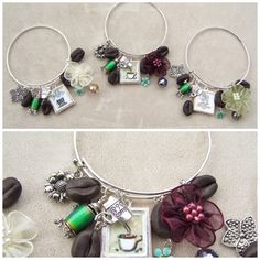 "3-31-2015-created for the Over the Top Wire Bangle Bracelet Challenge @ B'Sue Boutiques Creative Group on Facebook-features handmade polymer clay coffee bean beads, customized glass inset charms, and a coffee urn that ""warms up"" (it's a mood bead, lol)-designed by Sam Atwell"