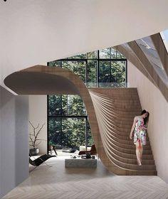 impressive staircase design inspirations for your house 19 Interior Design Inspiration, Home Interior Design, Interior And Exterior, Design Ideas, Luxury Interior, Interior Ideas, Exterior Design, Design Design, Architecture Design