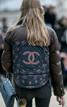 Paris Fashion Week street style: Chanel logo down jacket  | { Couture /// In The Details