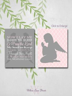 Now I lay me down to sleep sign Pink and Gray by WillowLanePrints