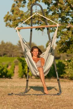 Comfort galore in this free standing hammock chair! (hammock and stand generally sold separately, check details) Stop in and see the beautiful colors, styles and variety of sizes to suit everyone, including the kids! http://www.madeintheshadehammocks.com/free-standing-hammock-chairs/ #hanginghammockchairswing
