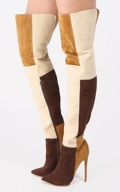 7906813d266 SHOE REPUBLIC MOLLIE THIGH HIGH POINTED TOE HIGH HEEL BROWN NUDE PATCH SEXY  BOOT  shoerepublic