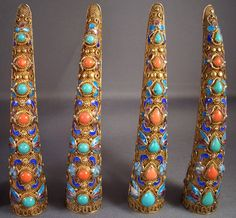 Antique Imperial Chinese Filigree Guilloche Enamel Fingernail Guards Museum Quality by RareBeauty