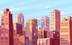 sunshine: Vector beautiful sunshine over cartoon city. Cityscape with sun light.  Cute modern architecture.  Vector stock illustration.