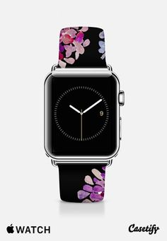 purple flowers on black apple watch Apple Watch Band (42mm) by Marianna | Casetify