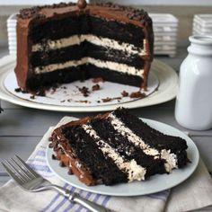 Dark chocolate salted caramel layer cake.    @Amanda Snelson Arnold-Crane