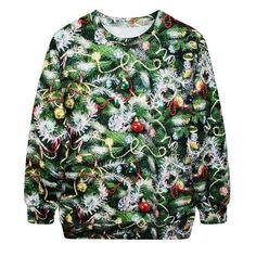 New 2016 Christmas Tree Sweatshirt Women Men Printed Hoodies O-neck Loose Pullovers Couple Hoodies sudaderas hombre Hoodie Sweatshirts, Printed Sweatshirts, Pullover Sweaters, Hooded Sweater, Ugly Sweater, Green Sweater, 3d Christmas, Ugly Christmas Sweater, Christmas Print