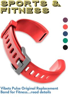 Vibets Pulse Original Replacement Band for Fitness Tracker ID115PlusHR (Cool Red) #fitnesstracker