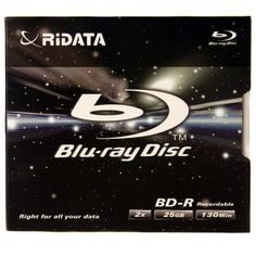 Ridata BD-R 25GB 2X Speed 130-minutes,  Recordable Blu-ray Disc - Jewel Case by Ridata. $3.15. The RITEK Blu-ray Disc blank media series will take your high-definition (HD) video recording and multiple gigabyte data archiving to the next level. Using the revolutionary new blue-violet laser technology, RITEK's Blu-ray disc has 25GB of capacity on a single-layer. With five times the storage and three times the transfer rate of a normal DVD, RITEK's Blu-ray disc is ...