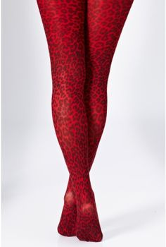 Red Leopard Printed Tights