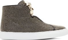 Versace - Black Nappa Leather Gold Studded High-Tops