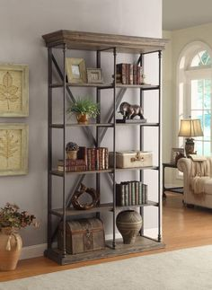 Bookcase with Slab Top, Beveled Edges, 4 Shelves and Iron Legs Accents in Corbin Medium Brown