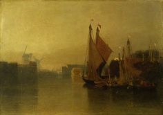 painting, 'View from Yarmouth Bridge, looking towards Breydon, just after sun-set' by John Sell Cotman oil on millboard, 1823 to 1825 about; cm x cm; Norfolk, Irish Art, Art Uk, Great Artists, Art History, Printmaking, Illustrators, Original Artwork, Art Gallery