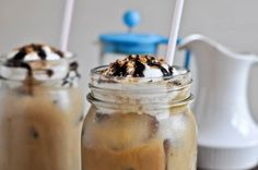 Awwww Yeahhhhhh!!!! Mocha Coconut Starbucks copycat drink!  This one is iced but I'm sure a quick toss in the blender can easily make it a frappe!