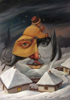 Winter...painting hung in the cabin in Mud Vein by Tarryn Fisher. Painting by Oleg Shuplyak