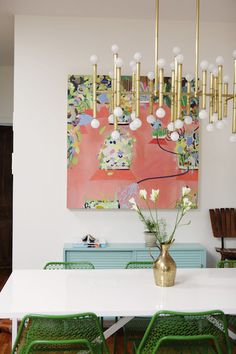 dining room, love the pink & green