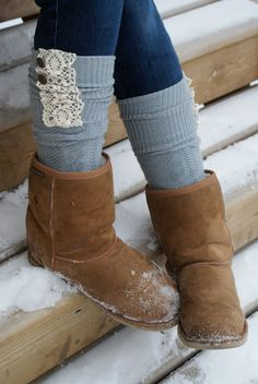 Boot Socks  Lace Grey Socks Grey Boot Socks with by TheSimplePark, $26.00