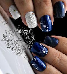 Beautiful winter nails, Blue winter nails, Christmas gel polish, Ideas of winter nails, January nails, New Year nails 2018, New year nails ideas 2018, New years nails