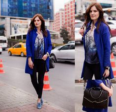Viktoriya Sener - Sammydress Blue Coat, Mango Blouse, Zara Jeans, Hotic Blue Brogues, Hotic Bag - MY BABY BLUE