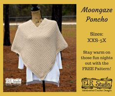 Make the warm and textured Moongaze poncho easily by sewing two rectangular pieces together. You'll have an elegant and warm poncho for those chilly nights.