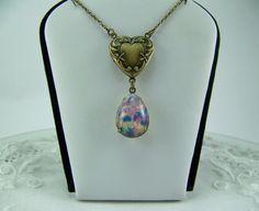 Harlequin Opal Locket Man Made Opal Necklace by CreatedinTheWoods
