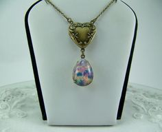 Harlequin Opal Locket Man Made Opal Necklace by CreatedinTheWoods