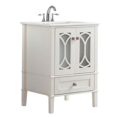 Simpli Home 24 in. W x 21.5 in. D x 34.5 in. H Vanity in Soft White with Quartz Marble Vanity Top in White with White Basin