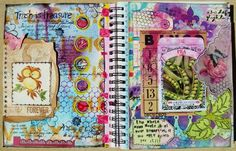 side by side art journal pages I created - www.justaboutthedetails.com