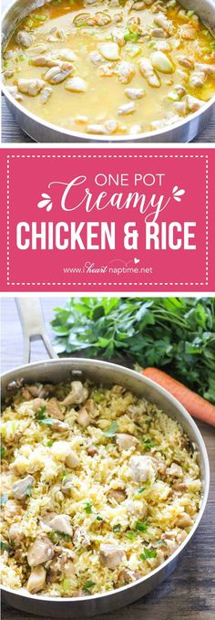 One Pot Creamy Chicken and Rice - an easy healthy dinner recipe made with simple, real ingredients in just one pot. Perfect for any night of the week!