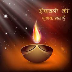 Beautiful diya flame on abstract background Happy Diwali Hindi typography Greeting card and wallpaper illustration