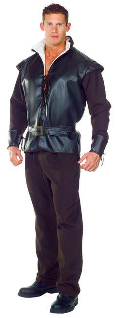 MENS FRONTIER PIRATE MEDIEVAL RENAISSANCE SWORDSMAN ZORRO COSTUME SHIRT BLACK