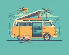 Explorers+Club:+Laguna+by+DKNG 1 000 × 800 pixels Car Illustration, Illustrations, Illustration Styles, Old Poster, Deco Surf, Vw Camping, Creation Art, Metal Tree Wall Art, Vw T1