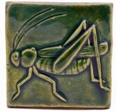 Grasshopper 3x3 Handmade Ceramic  Art Tile Leaf Green Glaze