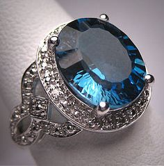 A Stunning Vintage London Blue Topaz and Diamond Ring, Art Deco Style White Gold Setting.
