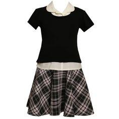 PINK BLACK WHITE METALLIC PLAID MOCK-LAYERED DROP WAIST School Girl Dress