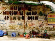 Hanoi, Vietnam street shoe shop