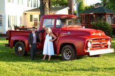"A 1956 F100 pick up is the perfect prop for pictures at Fairview Farm.  Love the outfits and the ""shades"" on this couple of the future!"
