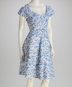 Take a look at this Light Blue Damask Sweetheart Dress - Women by Global Mamas on #zulily today!