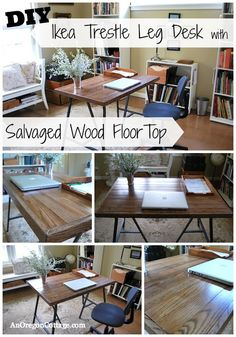 How To Make A Desk With Ikea Trestle Legs And Old Wood Flooring