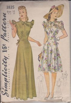VTG late 1930s early 1940s Simplicity 3835 dress gown sewing pattern size 16 B34