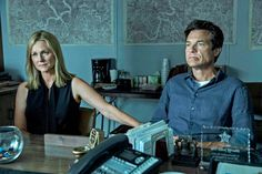 """Ozark"" Netflix promotional still, 2017.  L to R: Laura Linney, Jason Bateman.  This crime drama made its debut with ten episodes released on Netflix on July 21, 2017.  The show was renewed for a second season in 2018.  Season number three will be released in the summer of 2019."