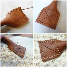 Learn how to sew and add beautiful leather handles onto your crochet and knit purses! This beginner tutorial shows you how to use a diamond punch, adjustable groover, rubber mallet and waxed… Leather Bag Pattern, Sewing Leather, Leather Craft, Leather Bag Tutorial, Stitching Leather, Crochet Tote, Crochet Purses, Leather Bags Handmade, Handmade Bags