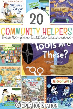 20 Community Helper Books for Little Learners - Mrs. Community Helpers Kindergarten, Kindergarten Classroom, Classroom Fun, Toddler Books, Childrens Books, Community Workers, My Community, Preschool Activities, Space Activities