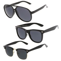 657ca71c433 Amazon.com  Retro Wide Temple Polarized Lens Square Horn Rimmed Sunglasses  55mm (2-Pack