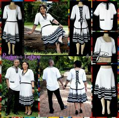 2426ab36a5bc Black and white Xhosa 2 piece modern traditional dress. Top in a high-low  design with elbow length sleeves and a lace up back detail.